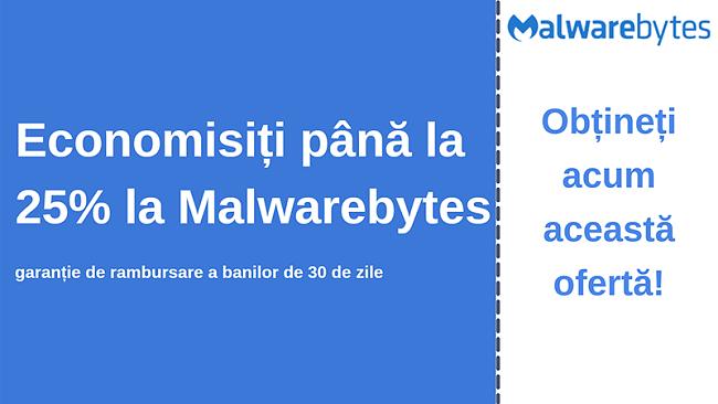 Cupon antivirus Malwarebytes cu o reducere de 25% și o garanție de 30 de zile pentru returnarea banilor