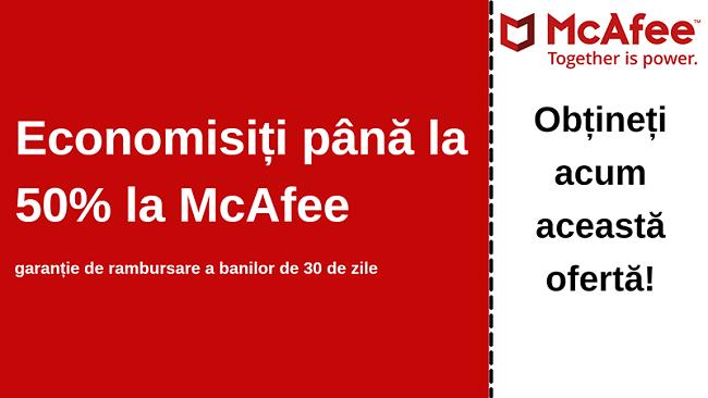 Cupon antivirus McAfee cu până la 50% reducere, cu o garanție de 30 de zile de returnare a banilor