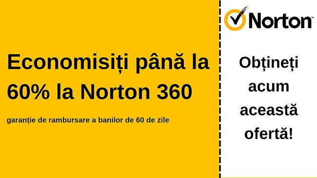 Cupon antivirus Norton 360 cu o reducere de 60% cu o garanție de 60 de zile pentru returnarea banilor