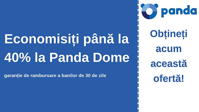 Cupon antivirus Panda cu 40% reducere și garanție de 30 de zile de returnare a banilor