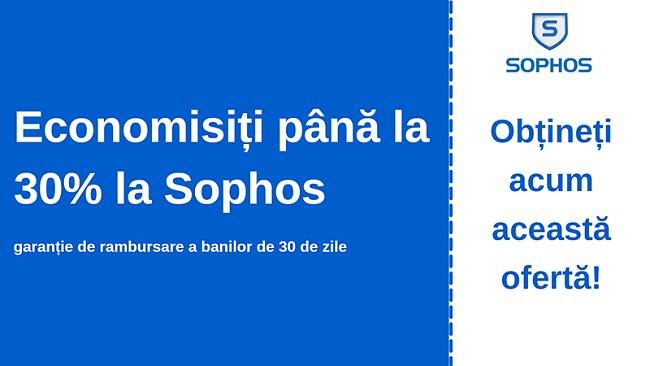 Cupon antivirus Sophos cu reducere de 30% și garanție de returnare a banilor în 30 de zile