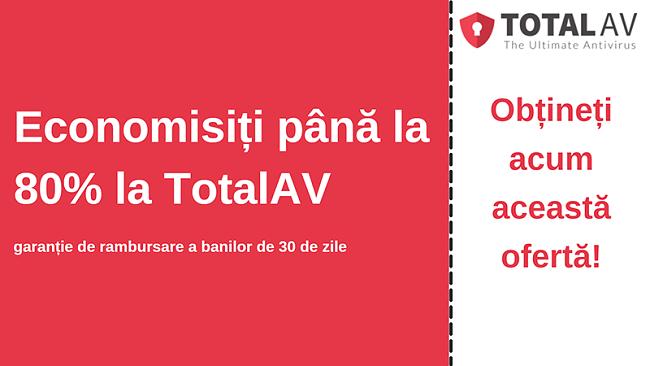 Cupon antivirus TotalAV cu reducere de până la 80% și garanție de 30 de zile de returnare a banilor