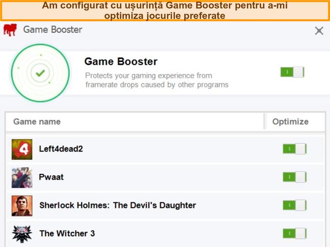 Captură de ecran a opțiunilor de configurare a jocului Booster BullGuard.