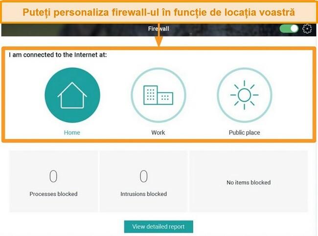 Captură de ecran a funcției Firewall Panda cu diferite niveluri de securitate evidențiate