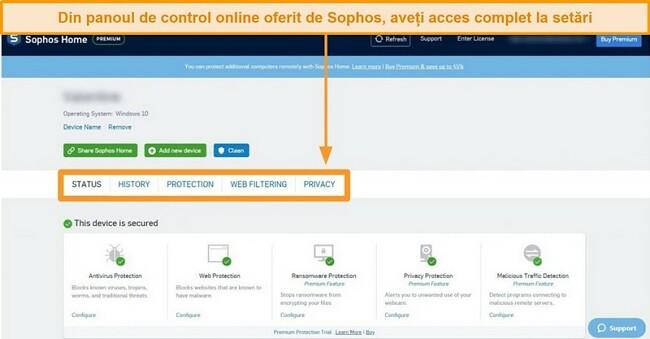 Captură de ecran a tabloului de bord web al Sophos