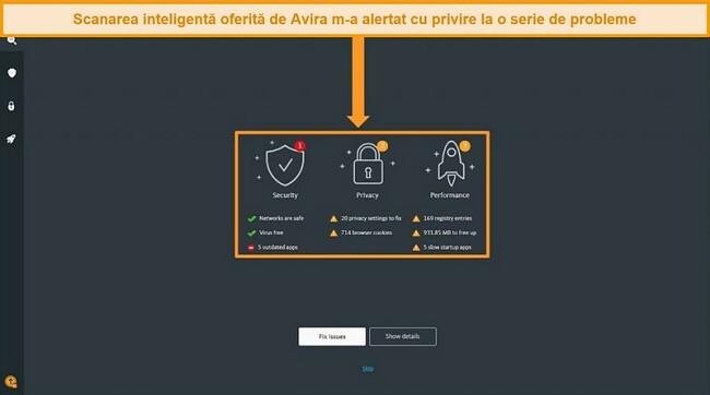 Captură de ecran a paginii cu rezultatele scanării inteligente Avira Antivirus.