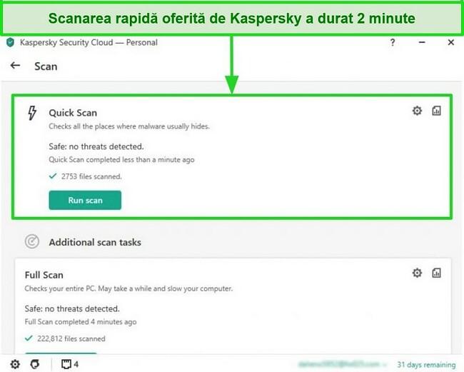 Captură de ecran a ecranului cu rezultate de scanare rapidă a aplicației desktop Kaspersky Antivirus.
