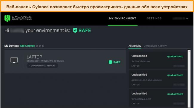 Снимок экрана веб-панели управления Cylance, отображающей текущий уровень безопасности подключенных устройств и обнаруженные угрозы.