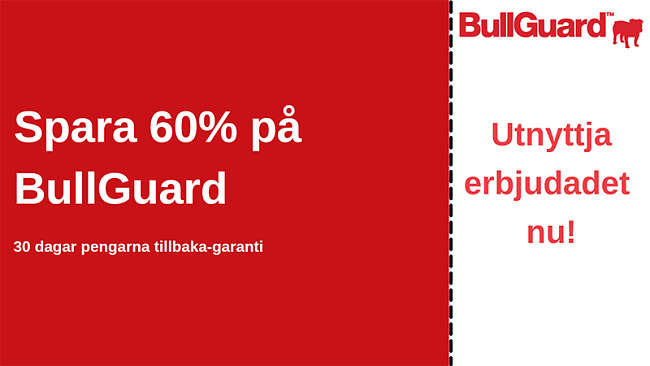 BullGuard antiviruskupong med 60% rabatt och 30-dagars pengarna-tillbaka-garanti