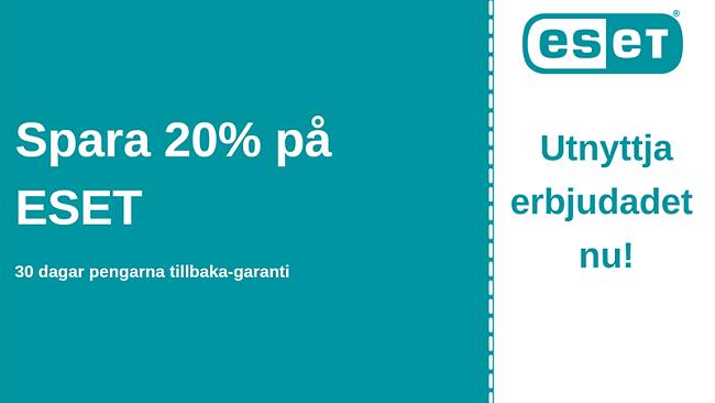 ESET-antiviruskupong med 20% rabatt och 30-dagars pengarna-tillbaka-garanti