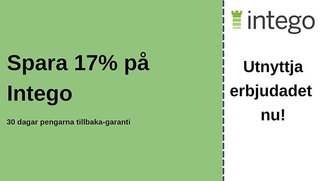 Intego antiviruskupong med 17% rabatt och 30-dagars pengarna-tillbaka-garanti