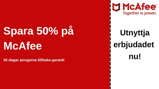McAfee-antiviruskupong för upp till 50% rabatt med 30-dagars pengarna-tillbaka-garanti