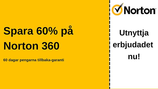 Norton 360 antiviruskupong för 60% rabatt med 60-dagars pengarna-tillbaka-garanti
