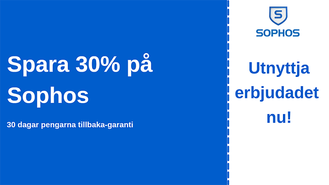 Sophos antiviruskupong med 30% rabatt och 30-dagars pengarna-tillbaka-garanti