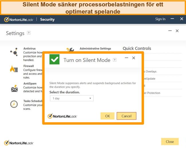 Skärmdump av Nortons tysta läge aktiveras.
