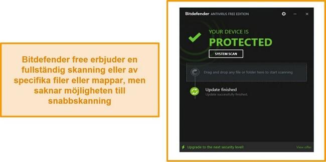 Skärmdump av Bitdefender gratis antivirus-instrumentpanel.