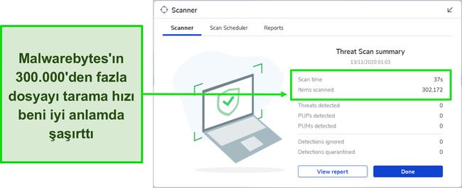Malwarebytes Tehdit Taraması sonuçlarının ekran görüntüsü.
