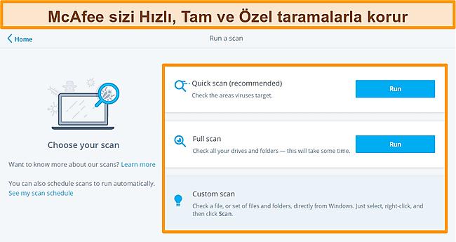 Hızlı, tam ve özel tarama seçenekleriyle McAfee antivirüs uygulamasının ekran görüntüsü.