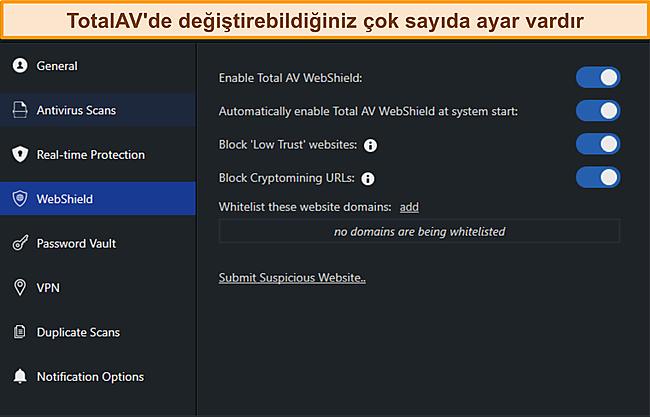 TotalAvs Settings Manus ekran görüntüsü.