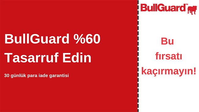% 60 indirimli ve 30 günlük para iade garantili BullGuard antivirüs kuponu