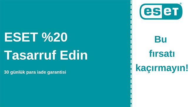 % 20 indirim ve 30 günlük para iade garantili ESET antivirüs kuponu
