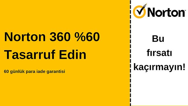 60 günlük para iade garantisi ile% 60 indirimli Norton 360 antivirüs kuponu