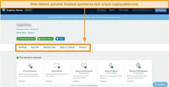 Sophos'un web tabanlı Kontrol Panelinin ekran görüntüsü