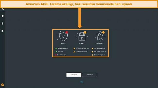 Avira Antivirus Smart Scan sonuçları sayfasının ekran görüntüsü.