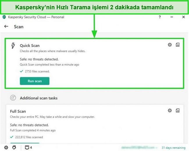 Kaspersky Antivirus masaüstü uygulamasının hızlı tarama sonucu ekranının ekran görüntüsü.