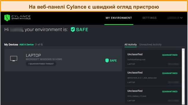Знімок екрана веб-панелі інструментів Cylance, що відображає поточний рівень безпеки підключених пристроїв та виявлення загроз.