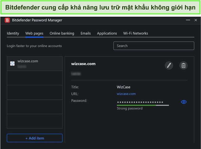 Ảnh chụp màn hình trình quản lý mật khẩu của Bitdefender.