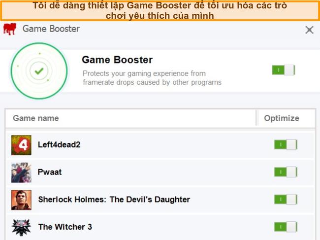 Ảnh chụp màn hình các tùy chọn cấu hình Game Booster của BullGuard.