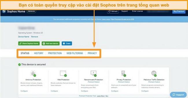 Ảnh chụp màn hình Trang tổng quan dựa trên web của Sophos