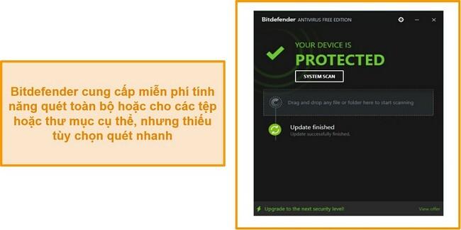 Ảnh chụp màn hình trang tổng quan chống vi-rút miễn phí Bitdefender.
