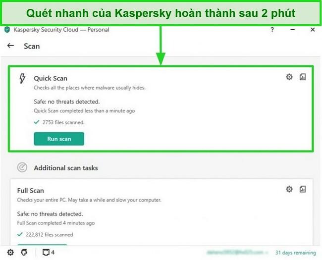 Ảnh chụp màn hình kết quả quét nhanh của ứng dụng Kaspersky Antivirus dành cho máy tính để bàn.
