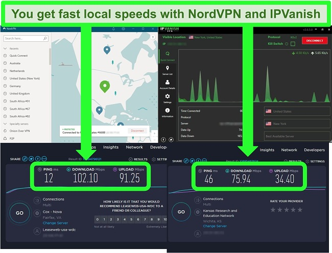 Screenshots of speed tests of NordVPN and IPVanish connected to servers in the US