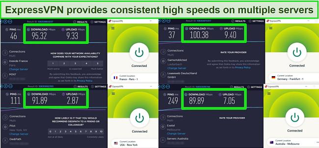 Screenshot of speed tests on 4 ExpressVPN servers