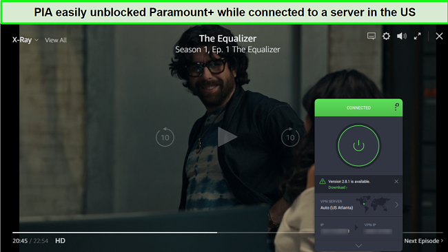 Screenshot of PIA unblocking Paramount+ while connected to a US server