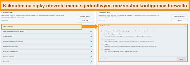 Screenshot z možností brány firewall společnosti McAfee.
