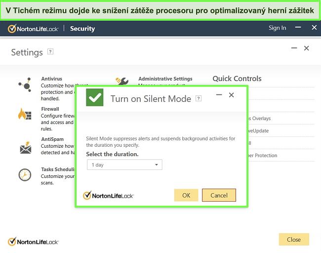 Screenshot funkce Tichý režim aplikace Norton LifeLock