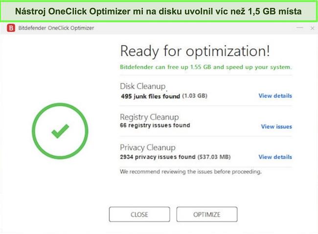 Screenshot nástroje nástroje OneClick Optimizer společnosti Bitdefender
