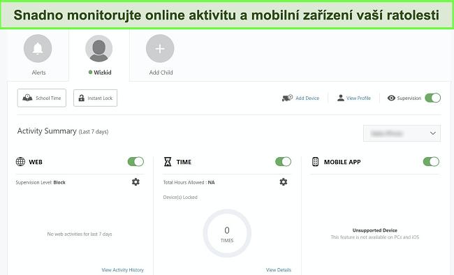 Screenshot řídicího panelu rodičovské kontroly Nortonard