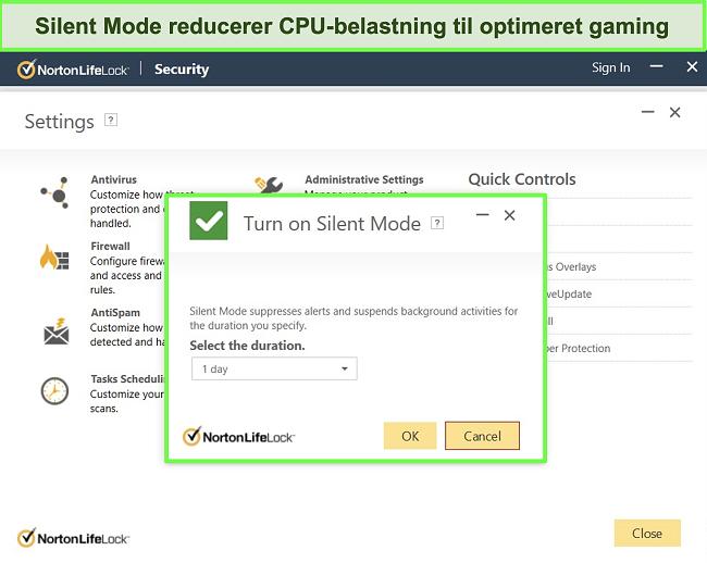 Skærmbillede af Norton LifeLocks Silent Mode-funktion