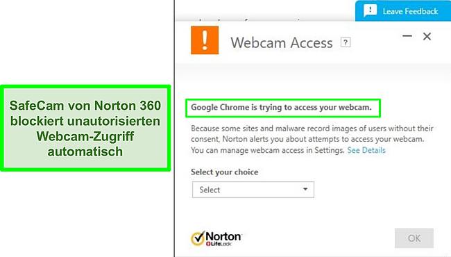 Screenshot von Norton, der den Versuch von Google Chrome blockiert, auf die Webcam zuzugreifen.