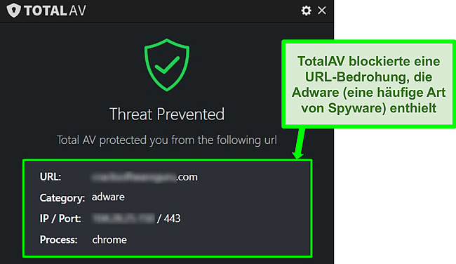 Screenshot zeigt, wie TotalAV eine schädliche URL blockiert, die Adware hostet.