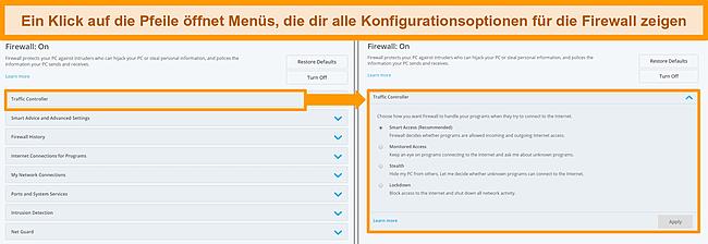 Screenshot der Firewall-Optionen von McAfee.