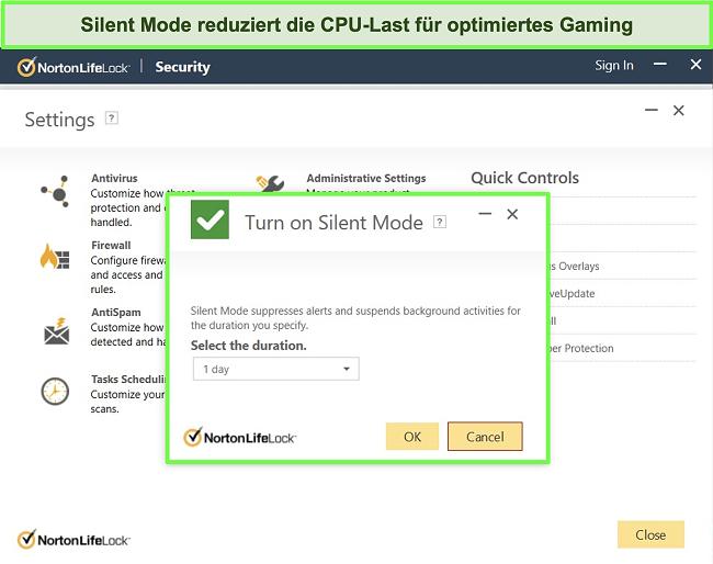 Screenshot der Silent-Mode-Funktion von Norton LifeLock