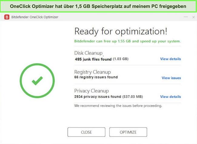 Screenshot des OneClick Optimizer-Tools von Bitdefender