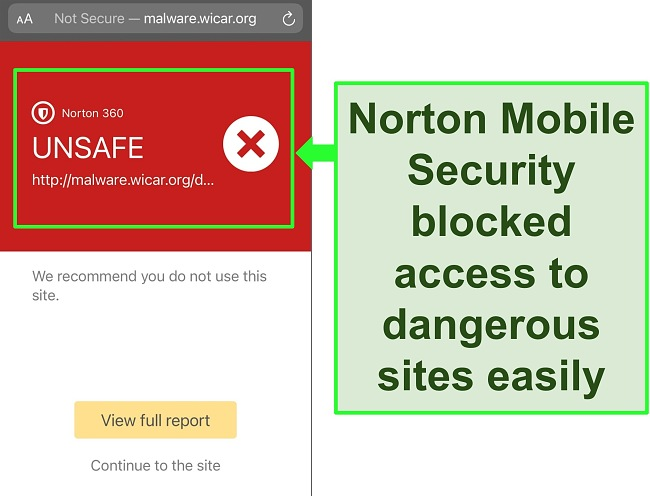 Screenshot of Norton's Mobile Security iOS app working to block access to a malicious test website.