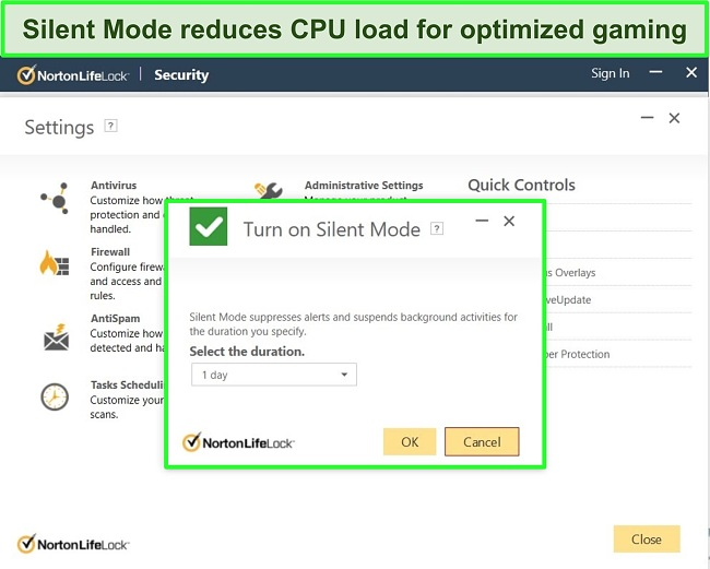 Screenshot of Norton LifeLock's Silent Mode feature.
